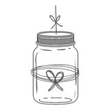 Silhouette glass jar with thread in bow shape Stock Photography