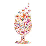 Silhouette of a glass with a pattern of flowers and butterflies Royalty Free Stock Images