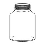 Silhouette glass wide container with lid Royalty Free Stock Photos