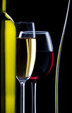 Silhouette of glasses and bottle of wine Royalty Free Stock Photo