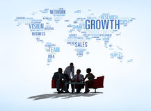 Silhouette Global Business Meeting Concept Stock Photos