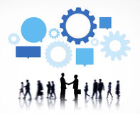 Silhouette of Global Business People Info-graphic Royalty Free Stock Photography