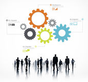 Silhouette of Global Business People Infographic Royalty Free Stock Photography