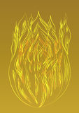 Silhouette golden fire on a yellow background. Silhouette of golden fire on a yellow background stock illustration