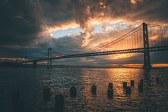 Silhouette of Golden Gate Bridge during Golden Hour royalty free stock image