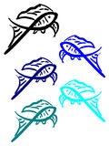 Silhouette of goldfish. Fish in blue colors. Aquatic pet Royalty Free Stock Images