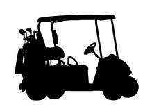 Silhouette of Golf Cart Royalty Free Stock Photography
