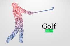 Silhouette of a golf player. Vector illustration. Silhouette of a golf player. Background and text on a separate layer, color can be changed in one click. Vector Stock Images