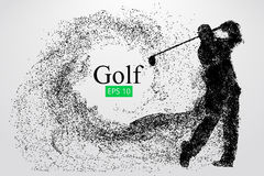 Silhouette of a golf player. Vector illustration. Silhouette of a golf player. Background and text on a separate layer, color can be changed in one click. Vector Royalty Free Stock Images