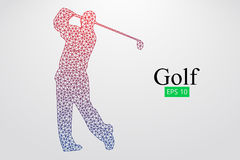 Silhouette of a golf player. Vector illustration. Silhouette of a golf player. Background and text on a separate layer, color can be changed in one click. Vector Stock Photo