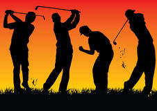 Silhouette Golf players with sunset. 4 glof players with sunset background, it is in eps file (vector graphic Stock Photo