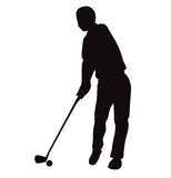 Silhouette of Golf swing front view - Vector Illustration Stock Images