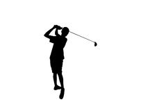 Silhouette golfer hitting golf shot isolated on white background Stock Photography