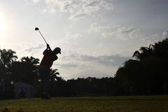 Silhouette Of Golfer Royalty Free Stock Images