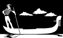 Silhouette of a gondolier Royalty Free Stock Photo