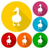 The silhouette of a goose icons set with long shadow. Vector icon Stock Photography