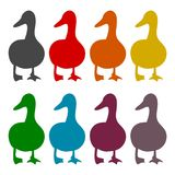 The silhouette of a goose icons set. Vector icon Royalty Free Stock Photo