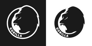 Silhouette of an gorilla, monochrome logo. Royalty Free Stock Images
