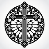 Silhouette gothic cross on rose window circle Stock Image