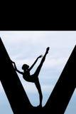 Silhouette of a graceful ballerina Stock Photos