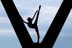 Silhouette of a graceful ballerina Royalty Free Stock Image