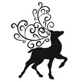 Silhouette of a graceful deer with ornate horns.  Royalty Free Stock Photography