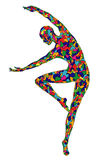 Silhouette of the graceful girl. Multi colored silhouette of the graceful girl Royalty Free Stock Photo