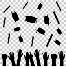 Silhouette of Graduation Celebration at Transparent Effect Background Royalty Free Stock Image