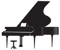 Silhouette of a grand piano Stock Photography