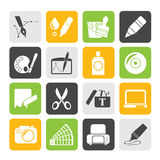 Silhouette Graphic and web design icons Stock Images