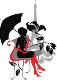 Silhouette graphique de griffonnage d'un femme Photo libre de droits