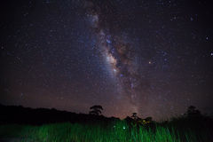 Silhouette of grass with cloud and Milky Way. Long exposure phot Stock Images