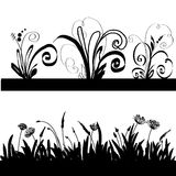 Silhouette of a grass and decorative elements. Black silhouette of a grass, plants and decorative elements on a white background Royalty Free Stock Photo