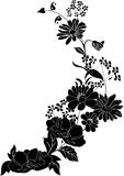 Silhouette with grass and flower corner vector illustration
