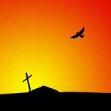 Silhouette of grave at sunset Stock Image