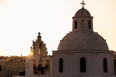 Silhouette of a greek church Royalty Free Stock Photo