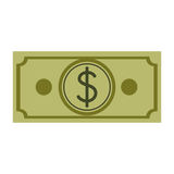 Silhouette green bill with currency symbol dollar. Vector illustration Royalty Free Stock Photos