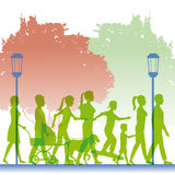 Silhouette green color people walking in street Royalty Free Stock Image