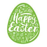 Silhouette of green egg with a congratulation for a happy Easter. Vector illustration, Design element. Silhouette of green egg with a congratulation for a happy Stock Image