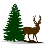 Silhouette of a green fir-tree and deer, on white background,. Vector Royalty Free Stock Photos