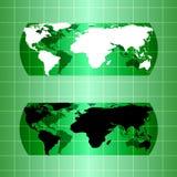 Silhouette green globe map material design Stock Photo