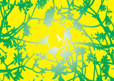 Silhouette Green Leaves Yellow Baclground Vector Stock Photo