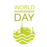 Silhouette Green Plant World Environment Day Factory Logo Royalty Free Stock Photos