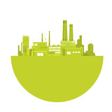 Silhouette Green Plant World Environment Day Factory Logo Stock Photos