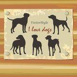 Silhouette of greyhounds in vector Stock Images