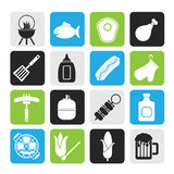 Silhouette Grilling and barbecue icons Royalty Free Stock Photo