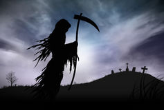 Silhouette of a Grim Reape. Illustration - Silhouette of a Grim Reaper or fantasy evil spirit in a graveyard at night. Good for background. Digital painting Stock Photos