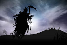Silhouette of a Grim Reaper. Illustration - Silhouette of a Grim Reaper or fantasy evil spirit in a graveyard at night. Good for background. Digital painting Stock Photography