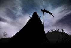 Silhouette of a Grim Reaper. Illustration - Silhouette of a Grim Reaper or fantasy evil spirit in a graveyard at night. Good for background. Digital painting Royalty Free Stock Images