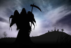 Silhouette of a Grim Reaper. Illustration - Silhouette of a Grim Reaper or fantasy evil spirit in a graveyard at night. Good for background. Digital painting Stock Images
